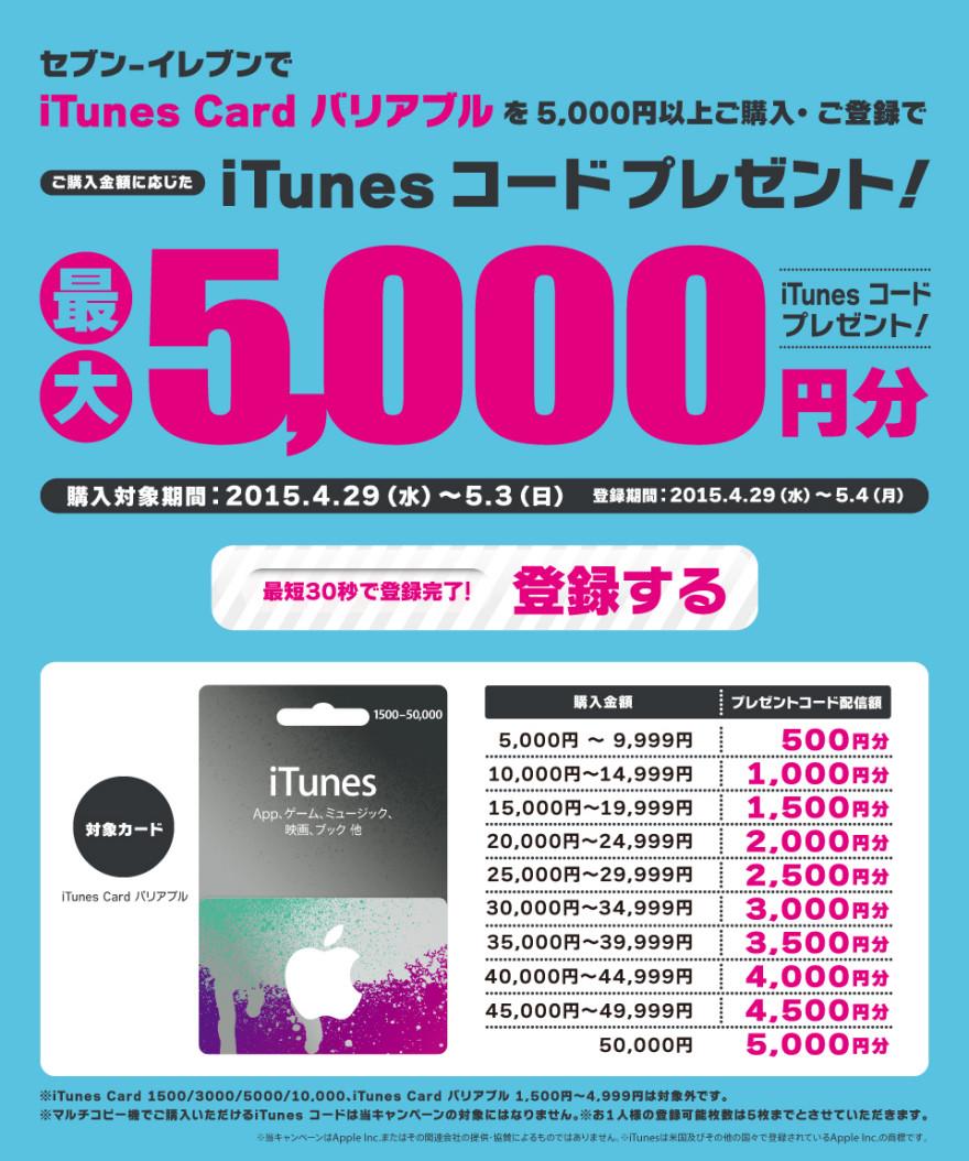 セブン-イレブン iTunes Card バリアブルプレゼントキャンペーンスタートのお知らせ