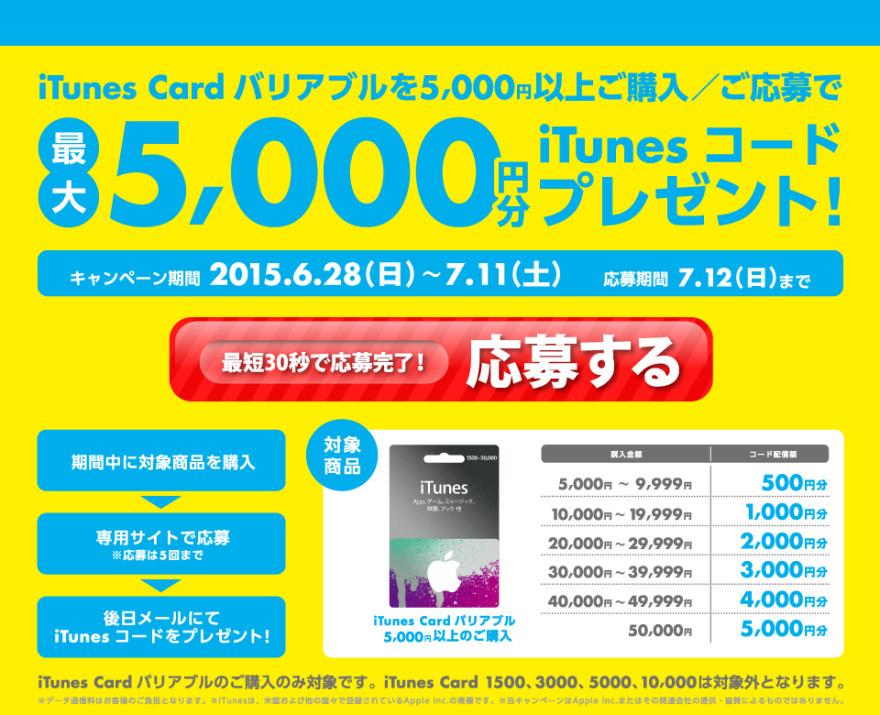 TSUTAYA iTunes Card バリアブル キャンペーン スタートのお知らせ