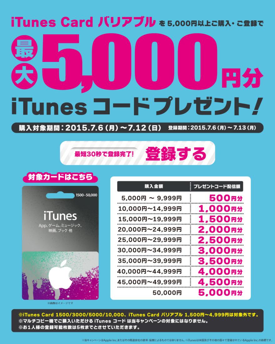 セブン−イレブン iTunes Card バリアブルプレゼントキャンペーンのお知らせ