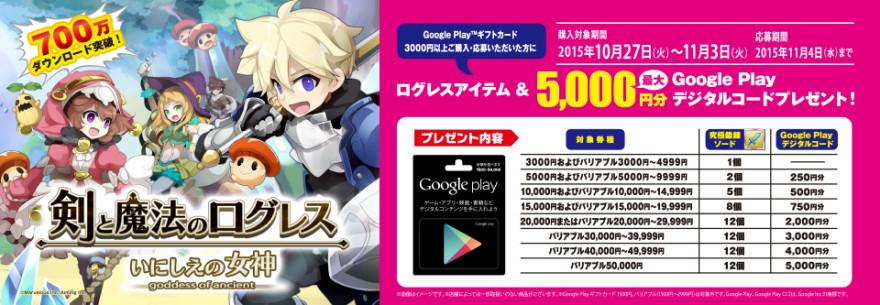 ローソン限定!ログレスアイテム & Google Play デジタルコードプレゼントキャンペーン!スタートのお知らせ