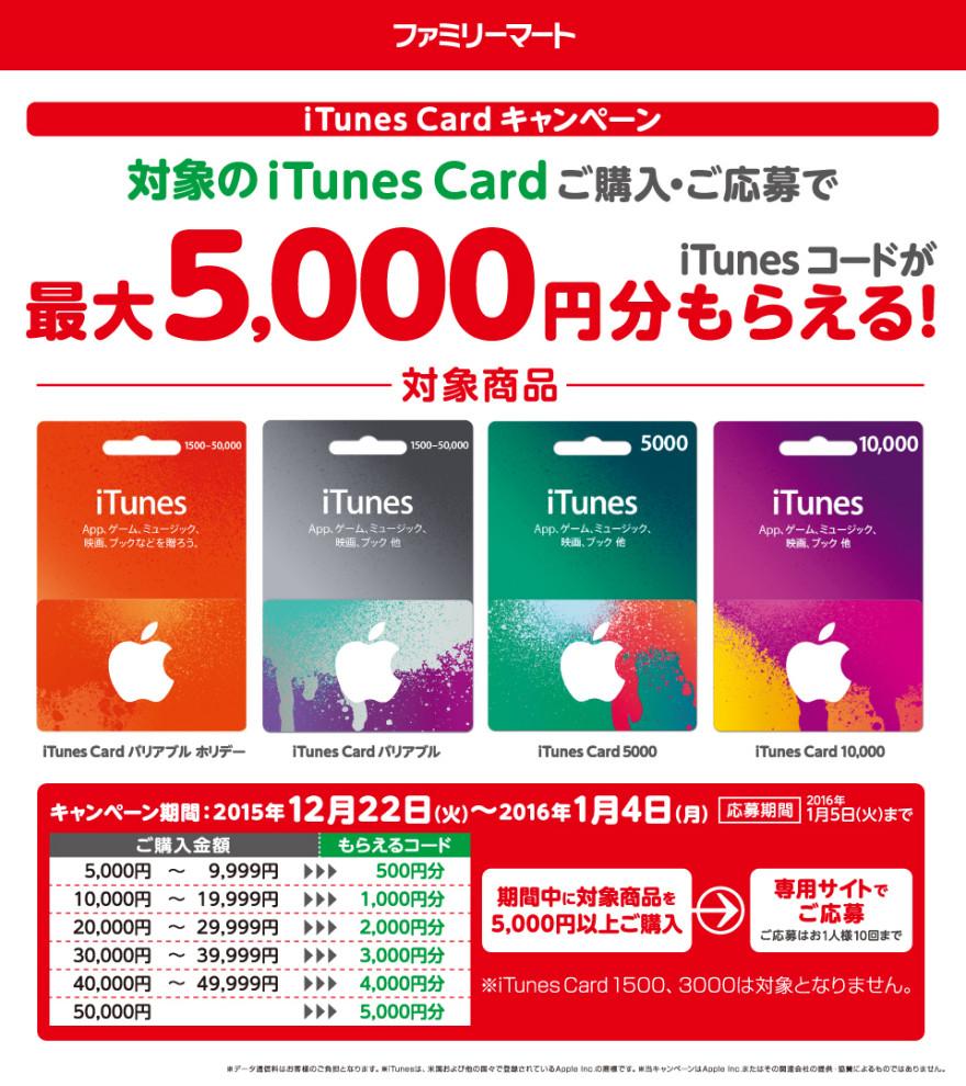 ファミリーマートiTunes コード プレゼントキャンペーン!お知らせ