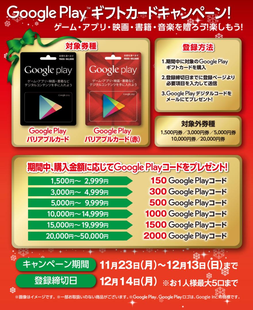セブンーイレブンGoogle Play ギフトカードキャンペー!お知らせ