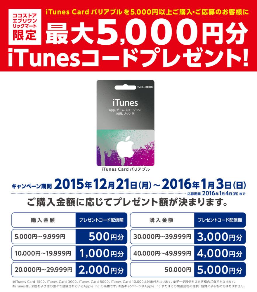 ココストアグループ iTunes Card バリアブルキャンペーン!お知らせ