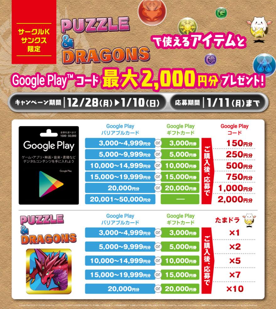 サークルK・サンクス Google Play(TM) ギフトカード『 PUZZLE&DRAGONS 』キャンペーン!お知らせ