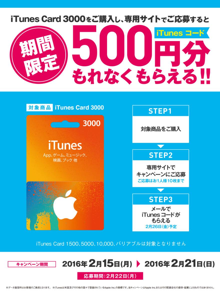 ファミリーマート iTunes Card キャンペーン!お知らせ