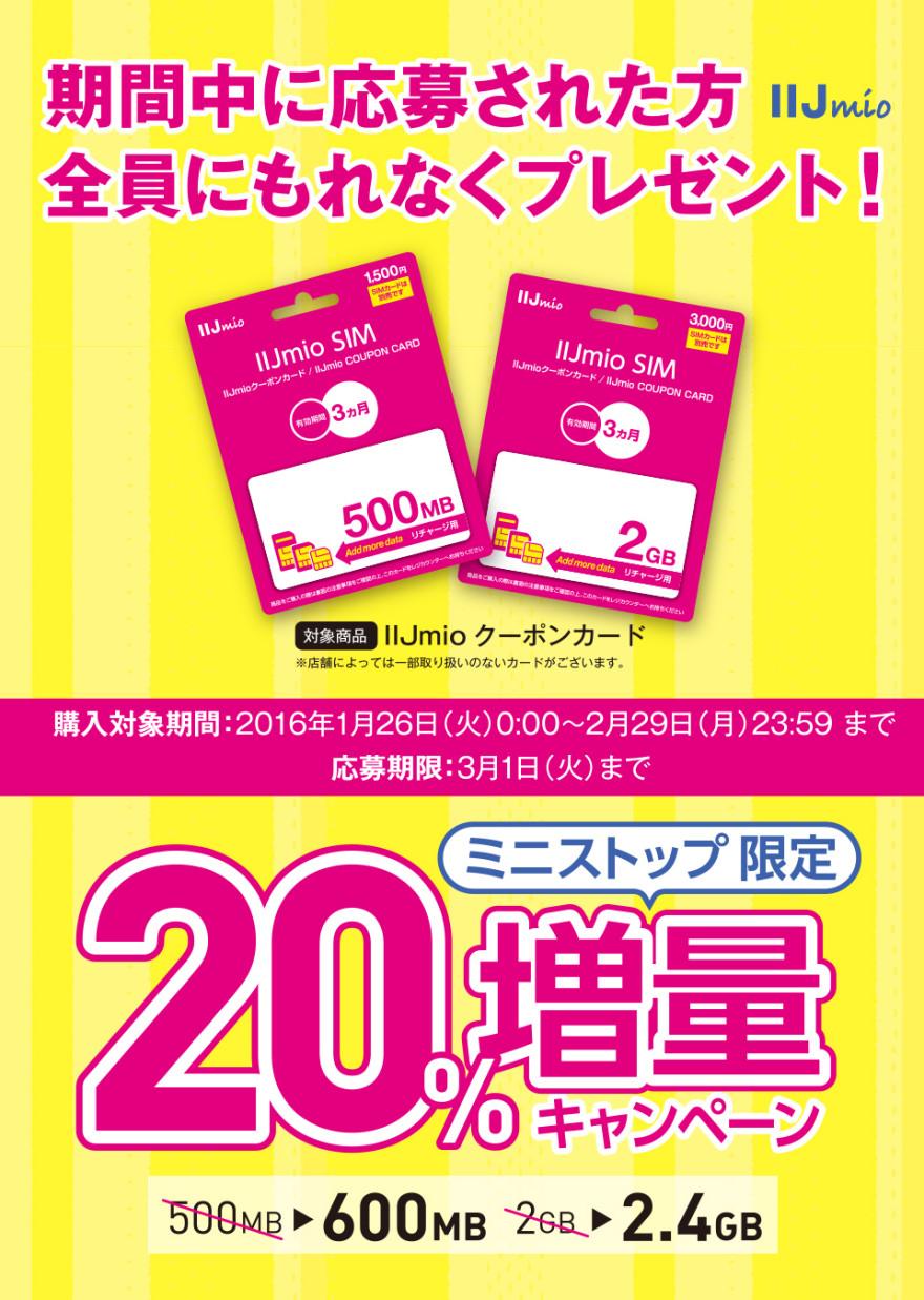 ミニストップ IIJmio クーポンカード 20%増量キャンペーン!お知らせ