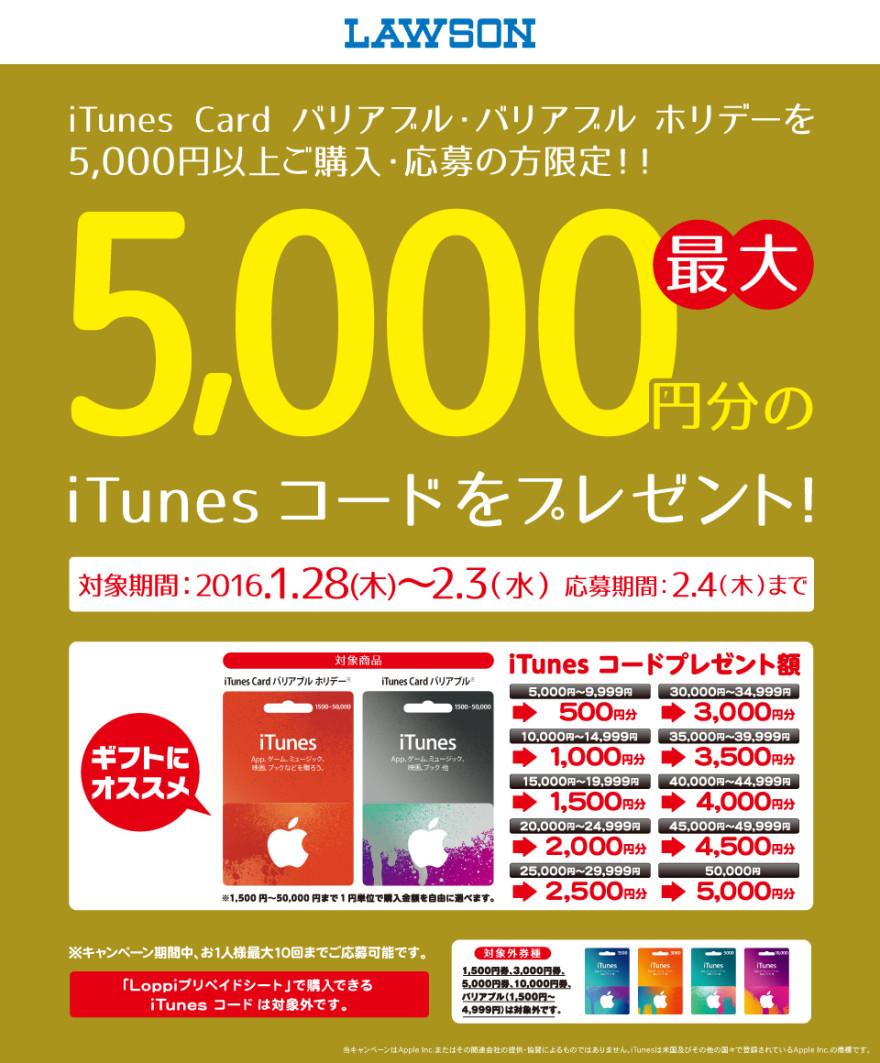 ローソン iTunes Card バリアブルキャンペーン!!お知らせ