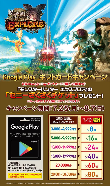 セブンーイレブンGoogle Play ギフトカード モンスターハンター キャンペーン!お知らせ