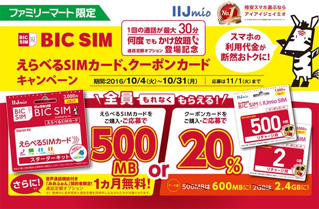 ファミリーマート IIJmio BIC SIM えらべるSIMカード、クーポンカードキャンペーンのお知らせ