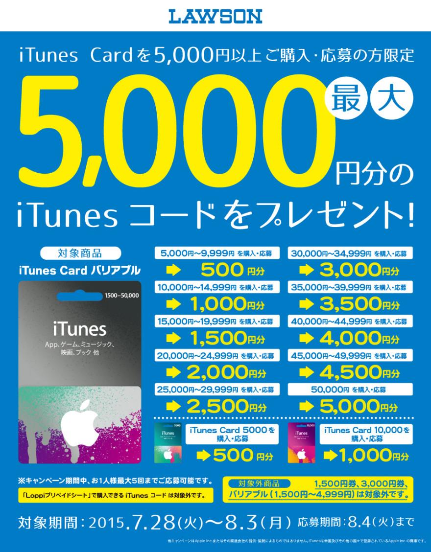 ローソン iTunes コード プレゼントキャンペーン!スタートのお知らせ