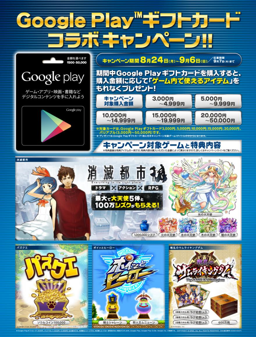 Google Playギフトカード コンテンツ合同 特典アイテムプレゼントキャンペーンスタートのお知らせ