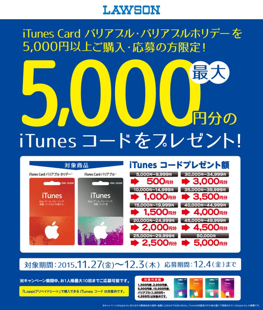 ローソン iTunes Card バリアブルキャンペーン!お知らせ