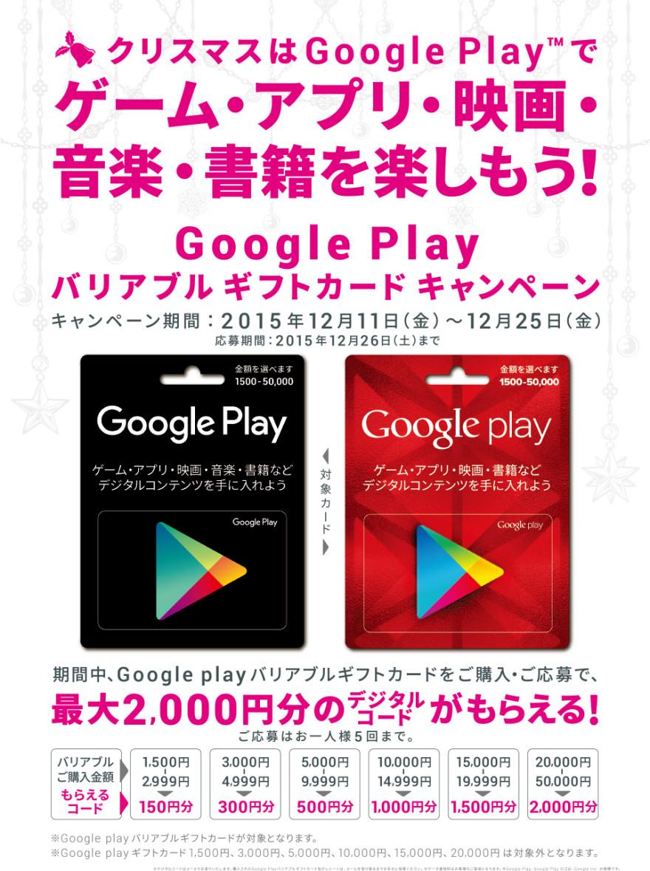 Google Play バリアブルギフトカードキャンペーン!お知らせ