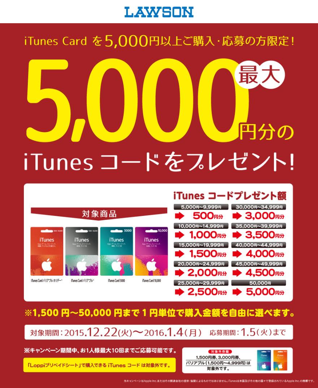 ローソン iTunes Cardキャンペーン!お知らせ