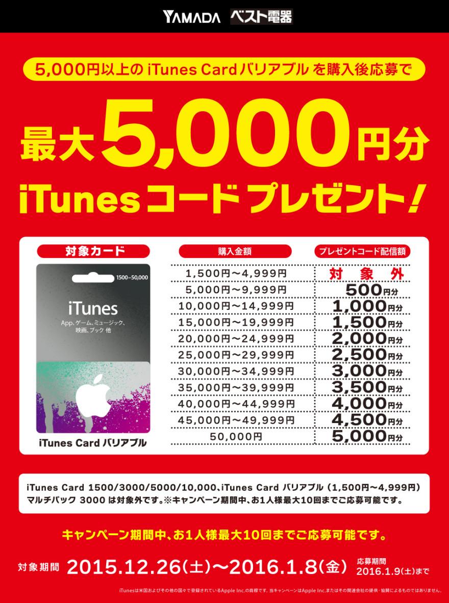 ヤマダ電機グループ iTunes Card バリアブルキャンペーン!お知らせ