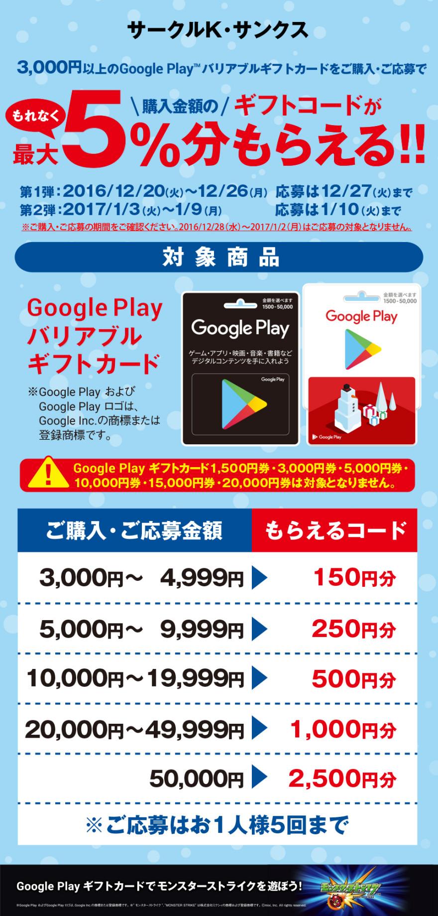 サークルK・サンクス Google Play ギフトコードキャンペーン!お知らせ
