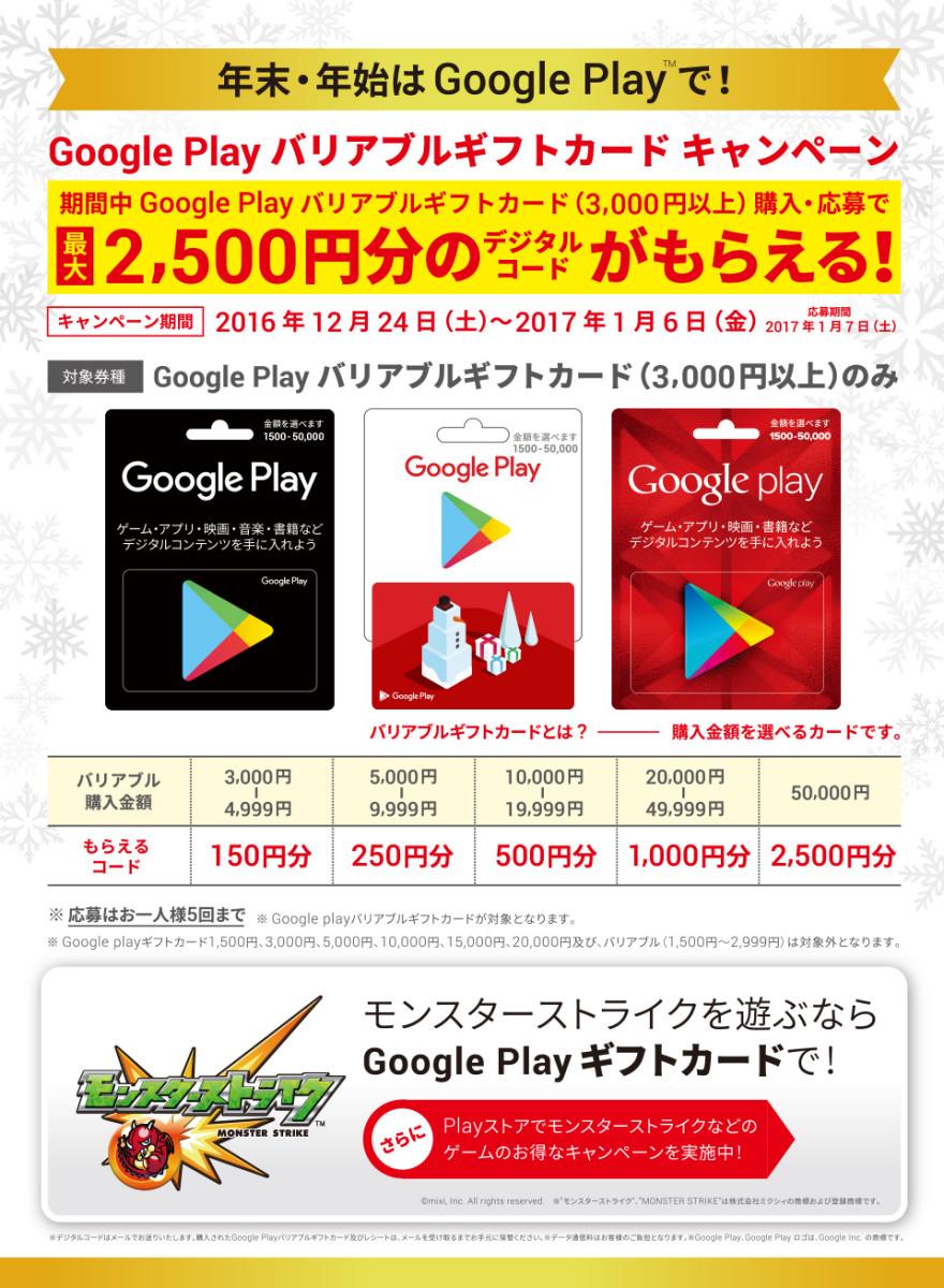 Google Play バリアブル ギフトカードキャンペーン!お知らせ