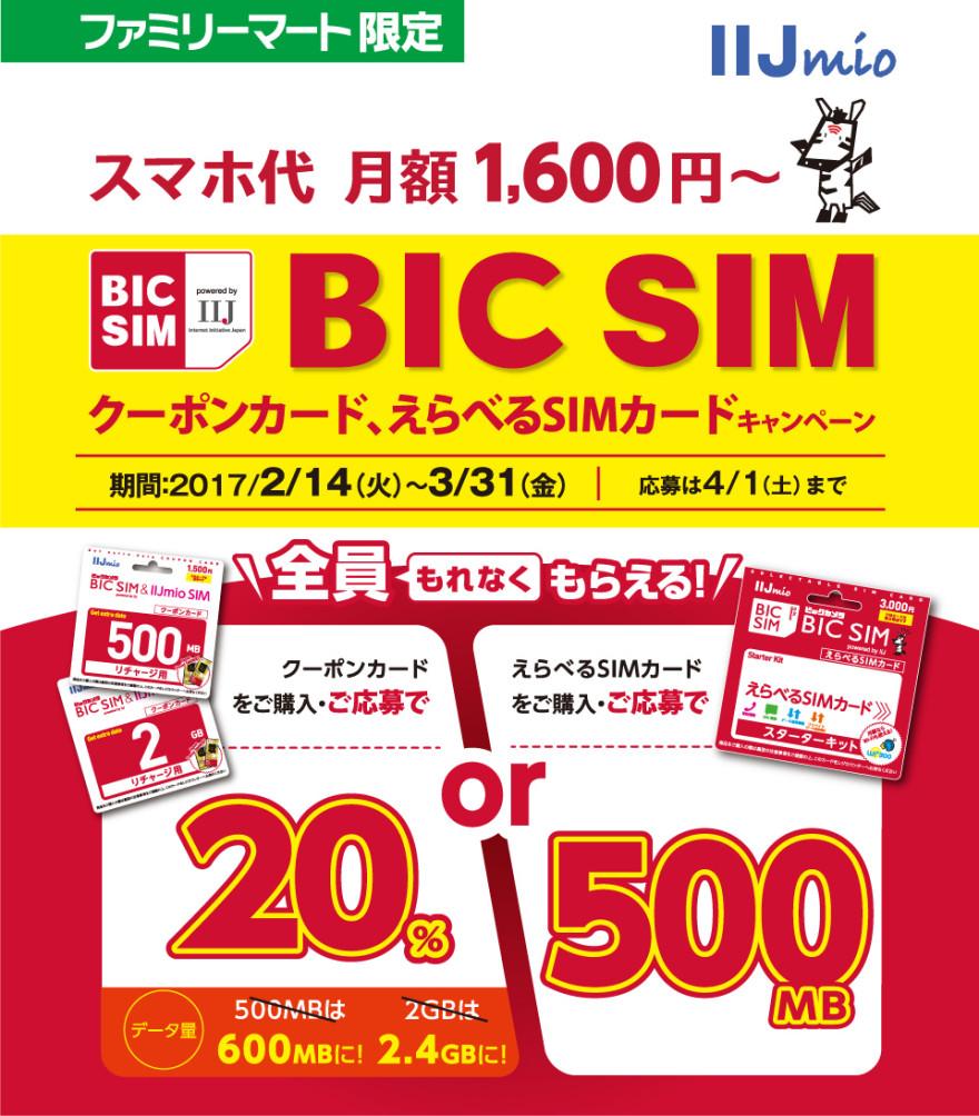 ファミリーマート IIJmio BIC SIM えらべるSIMカード、クーポンカードキャンペーン!お知らせ