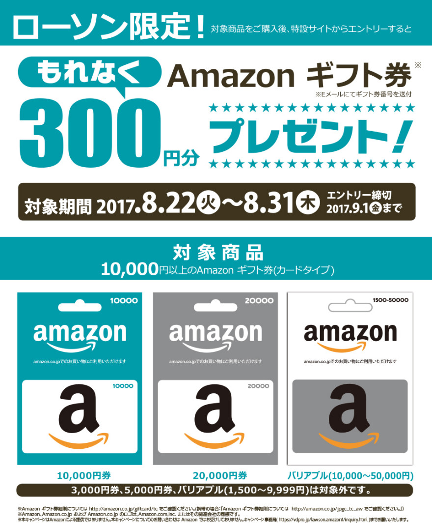Amazon ギフト券 300円分プレゼント!お知らせ