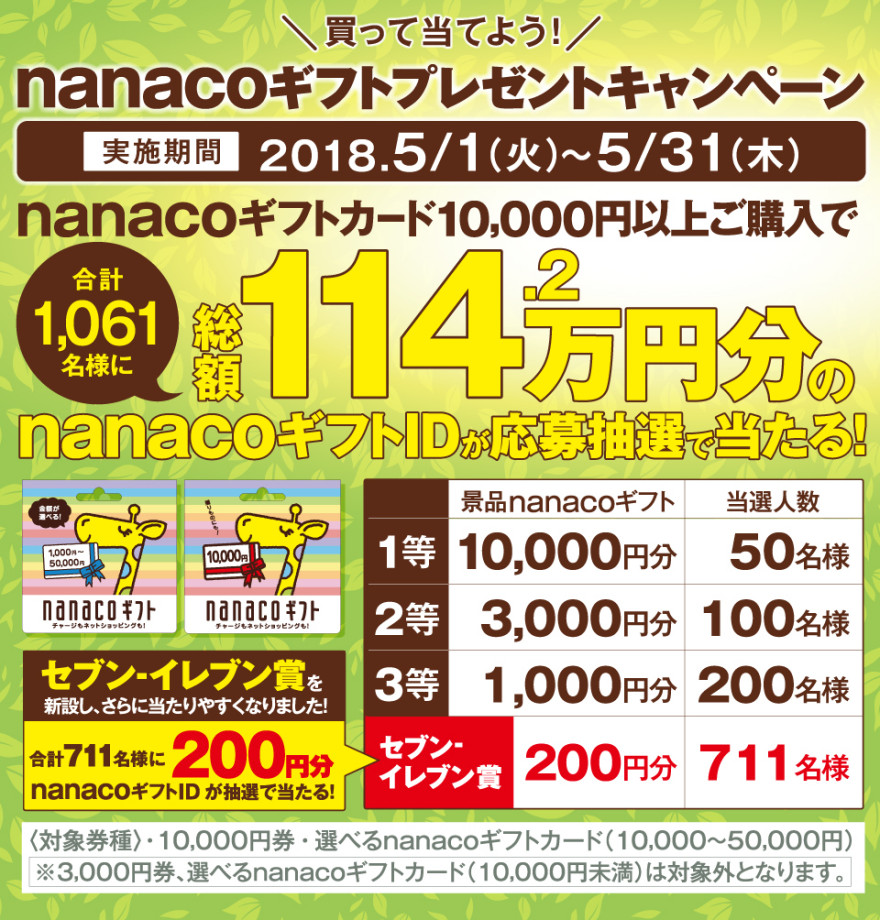 nanacoギフトカードキャンペーン!お知らせ