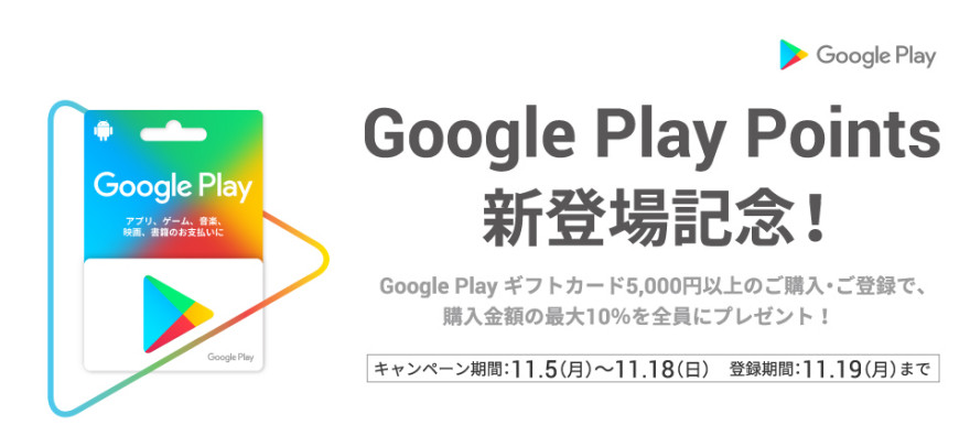 Google Play ギフトカードクーポンプレゼント!お知らせ