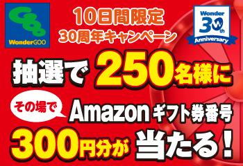 WonderGOO 30周年記念 キャンペーン Amazon ギフト券番号 プレゼント!お知らせ